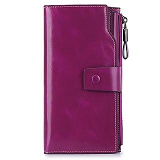 S-ZONE Women RFID Blocking Wallet Large Capacity Luxury Wax Genuine Leather Wallet Purse with Zipper Pocket, Medium, Purple