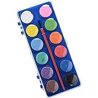 Toyvian 12 Colores Fundamentos Acuarela Conjunto Artista Acuarela Pintura Pan para Estudiantes Principiantes (Color Aleatorio)