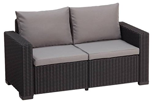 Allibert Lounge Sofa, Balkon California, 141 x 68 x 72 cm, Lounge Sofa, Rattan, graphit/panama cool grau