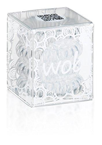 WOB TRACELESS HAIR RINGS Spiral-Haargummi, transparent, 1er Pack (1 x 4 Stück)