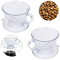 ✔Specifications: *Material: Resin *Size approx.90*65*103mm/3.5*2.6*4.1in *Color: Transparent  ✔Package Included:  2 X Coffee Filter Cone ✔Feature: ✓Made from high-fired resin that's durable, eco-friendly and safe to use. ✓Cone-shape ensures uniform e...