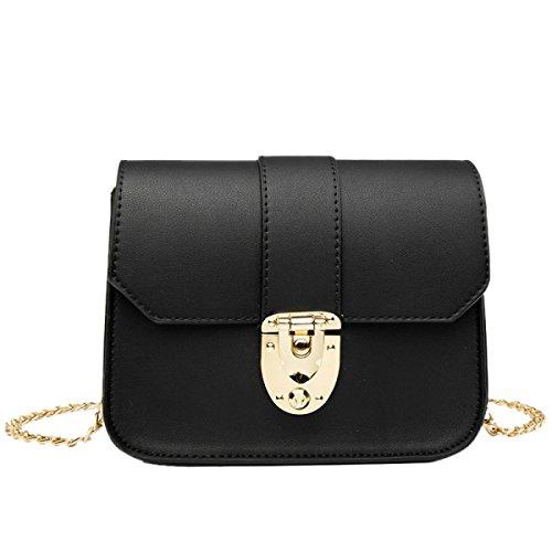 Damen Ketten Tasche Schultertasche Umhängetasche Mode Elegante Vintage Kleine Handtaschen Mini Black Bag Black