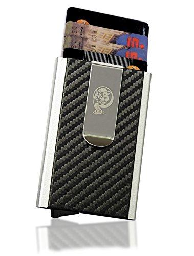 Hochwertiges Kreditkartenetui mit Geldklammer von VURAGO - Elegantes und minimalistisches Kartenetui im Carbon Look - Incl. edler Geschenkbox - Datenschutz mit RFID Blocker