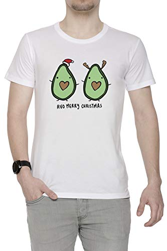 Erido Aguacate- Alegre Navidad Hombre Camiseta Cuello Redondo Blanco Manga Corta Tamaño S Men's White T-Shirt Small Size S