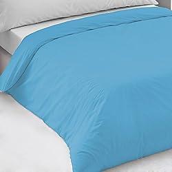 Aire Textil Sábanas HOSTELERIA - Funda Nórdica Color Calidad 30/27 (144 Hilos) 50% algodón - 50% poliéster. Cama 90 cm. Color Azul