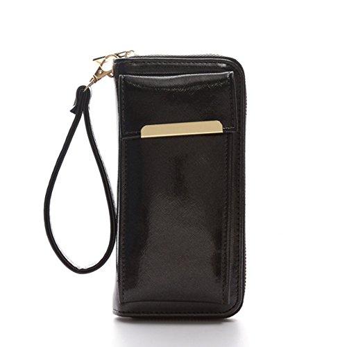 Portafoglio Telefono Woolala Portafoglio Lucido Telefono Cellulare Portafogli Organizzatore Borsa Lunga Con Bracciale Per Shopping Travel, Oro Black