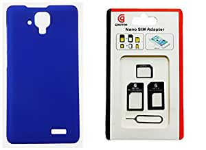 Toppings Hard Case Cover With Sim Adapter For Lenovo A536 - Blue