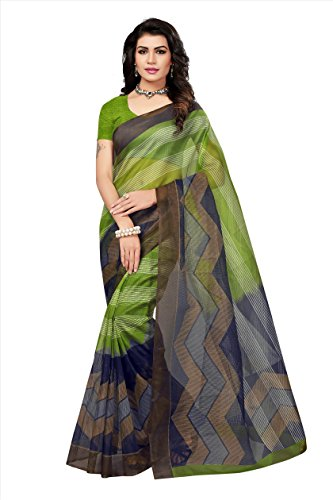 Fabwomen Women\'s Net Saree with Blouse Piece, Free Size (Green)