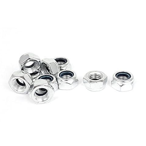 sourcingmap® M14 x 2mm Zinc Plated Nylock Nylon Insert Hex Lock Nuts 10pcs