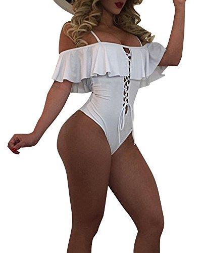 Donne Costumi Da Bagno Balze Bikini Body Spiaggia Costume Intero Beachwear Bianca