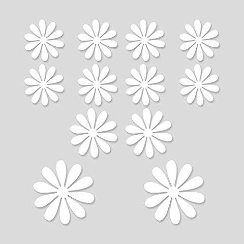 Simulación 3D del salón dormitorio cuarto de nevera pequeña flor decoraciones autoadhesivas adhesivos de pared de vivero de ideas, blanco