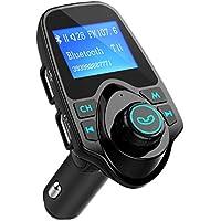 """Transmetteur FM Bluetooth TOPELEK Kit Voiture Sans Fil Appel Mains Libres Chargeur Allume-Cigare avec Double USB et Port Audio 3,5mm Écran d'Affichage 1,44"""" pour iPhone 8 7 7 Plus 6, Samsung, HUAWEI, HTC,Wiko etc."""