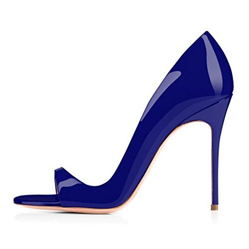 ELASHE - Scarpe da Donna - 12CM Peep Toe Sandali - Tacco a Spillo - Classiche Scarpe col Tacco Blu EU40