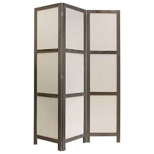 NEG Paravent Rigel (Graubraun) Raumteiler/Sichtschutz aus Echt-Holz und Baumwolle (spanische Wand) …