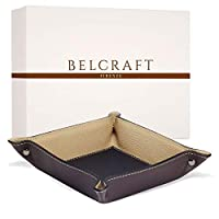 Luni Medium Leather Tidy Tray, Elegant present Box, Birthday Gifts for Dad, Handmade Classic Italian Style, Key Wallet, Coin Box, Brown (19x19 cm)