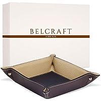 Luni Taschenleerer Leder, Elegantes Geschenk mit Geschenkbox, Handgearbeitet in klassischem italienischem Stil, Ordentlich Tablett, Braun (19x19 cm)