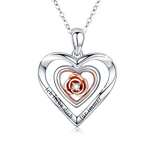 Rose Blume Kette 925 Sterling Silber Ich liebe dich für immer Kette Gravierte Halskette Doppel Herz Anhänger Damen Herz Rose Romantische Halskette Geschenk für Frauen Mädchen