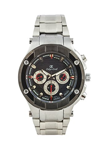 Oskar-Emil Classic Multi-Function Silver Montreal Men's Quartz Watch with Black Dial Analogue Display and Silver Stainless Steel Bracelet