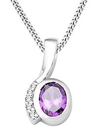 Miore Damen Halskette 925 Sterling Silber rhodiniert Amethyst violett MSAE012