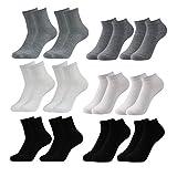 Caudblor 12 Pares No Show calcetines de corte bajo para hombres y mujeres, blanco/gris/negro-Mujer
