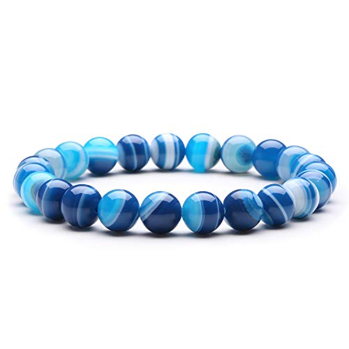 J.Fée Bracelet de Perles D'agate à Bandes Bleues Bracelet...