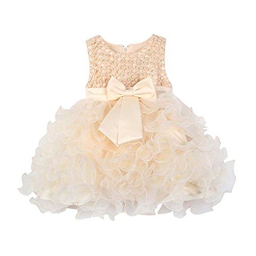 Mbby Vestiti Battesimo Neonati6 24 Mesi Abito da Carnevale per Bambina Vestito Cerimonia Principessa con Arco Senza Manica Diamante Tulle Abiti Tutu