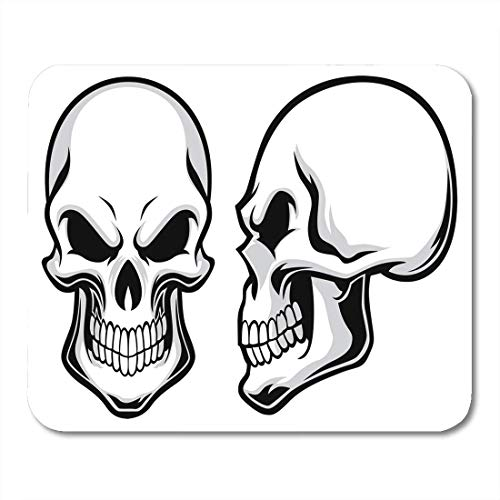 Deglogse Gaming-Mauspad-Matte, Skeleton Black Side Cartoon Skulls View Halloween Head Human Mouse Pad, Desktop Computers mats