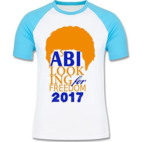 Abi & Abschluss - ABI looking for freedom 2017 - zweifarbiges Baseballshirt für Männer Weiß/Türkis
