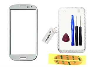 Blanc Ecran Vitre Externe Glass Pour Samsung Galaxy S3 GT-i9300 SIII + Outil Kit + boite + ruban adhésif