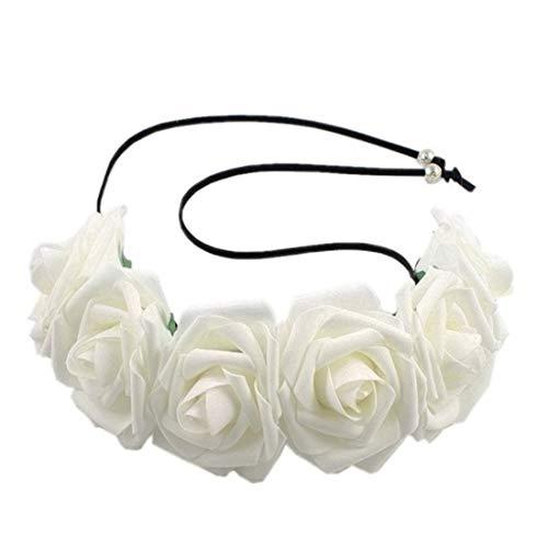 VWH Frauen Mädchen Rose Blume Tuch Haarband Halloween Cosplay Stirnband Floral Haarschmuck(Weiß)