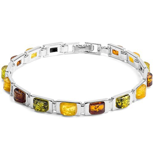 Multicolor Ámbar Plata Esterlina Rectangular Pulsera 19,5 cm