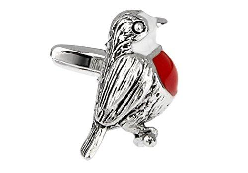 MRCUFF Vogel rot, Paar Manschettenknöpfe in Einer Geschenkbox und Reinigungstuch -
