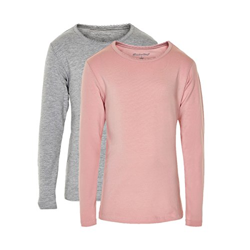 Minymo 2er Pack Baby Mädchen T-Shirt, Langarm, Alter 9-12 Monate, Größe: 80, Farbe: Rosa und Grau, 3935 (Langarm-shirts 9 Monate)
