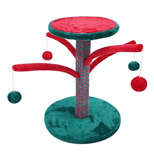 Stabiler Kratzbaum mit Sisal-Kratzstangen Cat Klettergerüst Baum Sisal Weihnachtskatzen-Baum-Turm Katze Schnappen Spalt Spielzeug Haustier-Haus (Grün) (Farbe : Grün, Größe : 35×35×44cm) -