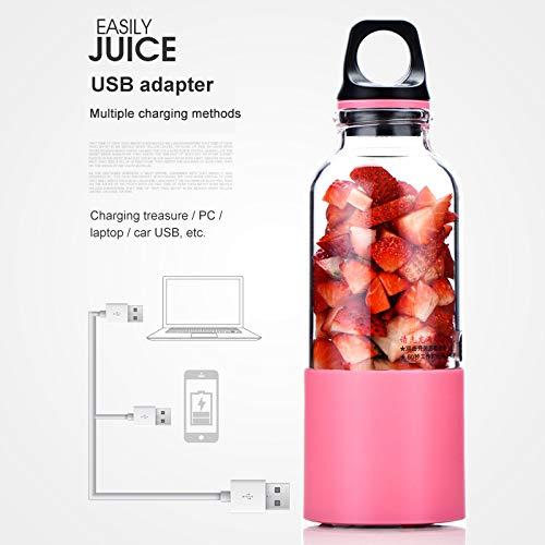 500 ML Portátil USB Recargable Licuadora Eléctrica Juicer Cup Verduras Jugo de Fruta Fabricante Botella Extractor de Jugo Mezclador Mezclador,Pink