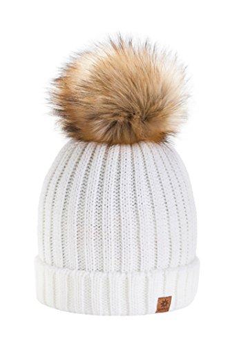 4sold RITA Lady Skullies Bonnets Bonnet fourré hiver pour femme bonnet tricoté avec torsades et gros pompon en fourrure plusieurs coloris taille unique (Ecru)