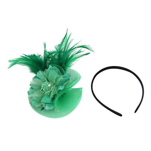 Kostüm Tage Derby - WERVOT Haarreife Künstliche Feder Fascinators Womens Flower Derby Hut für Cocktail Ball Hochzeit Stirnband(Grün,24X12X1CM)