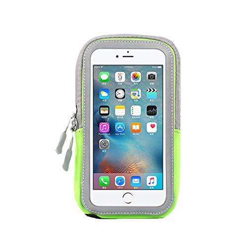 Sport Armband Fitness für iPhone6 7 8 / iPhone6plus ~ iPhone X - Fingerabdruck-ID - Reflektierender Streifen - Schlüsselanhänger, geeignet für Fitnessstudio, Radfahren, Outdoor-Sportarten,Green,5.6in (Iphone6 Fitness-armband)