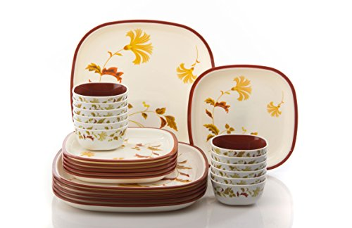 Nayasa Square Printed Microwaveable Dinner Set 24 Pc - Cotton Flower