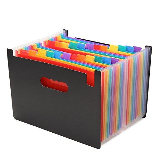 Trieur Valisette,Kaka mall Accordéon Classeur Pochettes Porte-documents avec 24 Compartiments en Format A4 Haute Capacité Portable Extensible 33*24 CM Multicolore