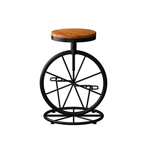 BJL Taburetes Bar Taburete de Bar de Madera Maciza, American Iron Lift Bar Silla Vintage Old Wood Bar Taburete Bar Chair High Stool Silla Creativa Silla de recepción Silla de café 53 * (60-70) cm oy