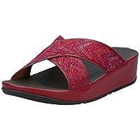 FITFLOP Cora Crystal Slides Women's Women Fashion Sandals - Red (Dark Red 738), 5 UK (38 EU)