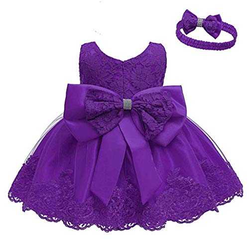 Livoral Babyspitzebogenprinzessin, die formales Ballettröckchenkleid + Stirnbandanzug Wedding ist(Lila,18-24 Monate)