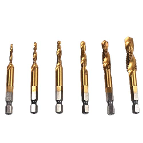 Hss Screw Machine Drill (BOHENG Holzbearbeitungswerkzeuge, Spiralbohrer-Bit Set, 6Pcs Titanium Coated HSS Fluted Machine Screw Tap Kit, Hex Shank Combination Drill Bit Pick Screw Tap Set, Gold)