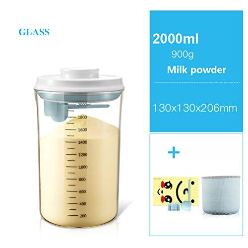 JIANCHI Milchpulver Und VorratsbehäLter FüR Lebensmittel Mit Luftdichten Deckeln, BPA-Frei Und Lebensmittelechtem Kunststoff, Milchpulvertank, Glas (2000Ml),2L