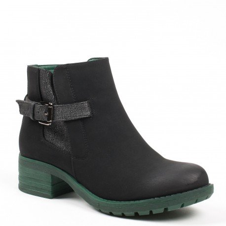 Ideal Shoes - Bottines style chelsea avec talon coloré Nataline Vert