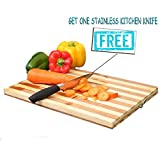 First 4 Non-Slip Wooden Bamboo Professional Heavy Duty Durable Antibacterial Surface Chopping Tray/Board with Finger Hole, Standard(Multicolour)