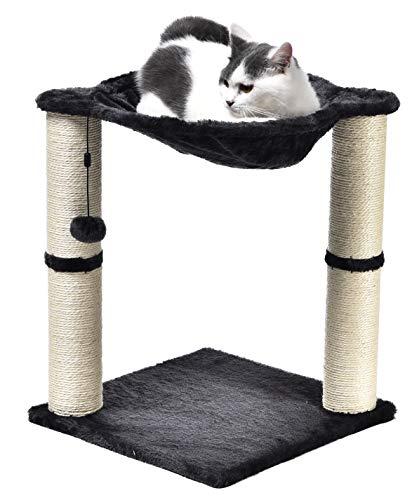 AmazonBasics - Albero per gatti con amaca e palo tiragraffi, 40,6 x 50,8 x 40,6 cm, grigio