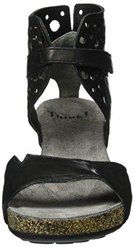 Think Traudi, Scarpe Col Tacco con Cinturino a T Donna Nero (schwarz 00)