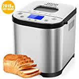Homever Bread Maker [2019 Upgraded] - Automatic 2LB Bread Machine with Sugar Free Setting, Fully Stainless Stee Bread Maker (15 Programs, 3 Sizes&3 Colors, 15 Hours Delay Timer, 1 Hour Keep Warm)